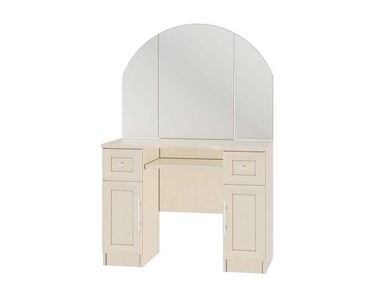 Отлично будет смотреться в такой спальне кованый туалетный столик с зеркалом или модель из дерева